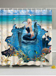 3D Mermaid Print Eco-Friendly Polyester Shower Curtain