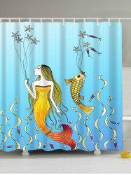 Cartoon Mermaid Fish Print Waterproof Shower Curtain
