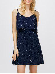 Ruffle Polka Dot Mini Slip Dress - DEEP BLUE