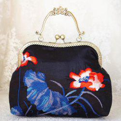 Satin Embroidered Kisslock Handbag