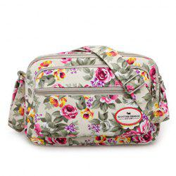 Canvas Flower Printed Colour Block Crossbody Bag - GLITTER CREAMY WHITE