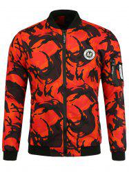 Patch Camo Jacket with Pocket Detail - ORANGE RED 2XL