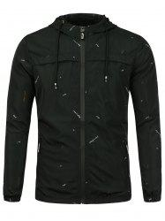Graphic Print Hooded Wind Jacket