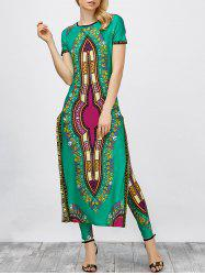 High Slit Africa Print Robe Dress with Pants