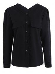 Plus Size V Neck Button Up Shirt