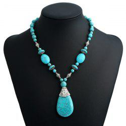 Bohemian Tear Drop Faux Turquoise Beaded Pendant Necklace - TURQUOISE BLUE