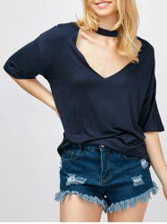 Choker Neck Cut Out T-Shirt -