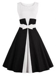 Color Block Cocktail Pin Up Dress - BLACK