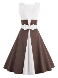 Color Block Cocktail Pin Up Dress - COFFEE S
