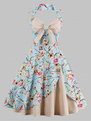 Plus Size Halter  Floral Print Vintage Pin Up Dress - APRICOT