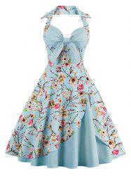 Halter Vintage Floral Print Pin Up A Line Dress - CLOUDY