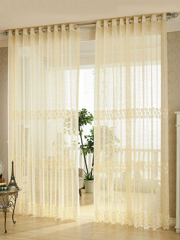 Hot Flower Embroidery Sheer Grommet Top Tulle Curtain