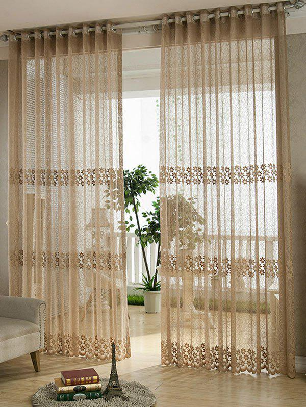 Shops Flower Embroidery Sheer Grommet Top Tulle Curtain