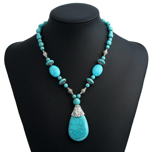 Bohemian Tear Drop Faux Turquoise Beaded Pendant NecklaceJEWELRY<br><br>Color: TURQUOISE BLUE; Item Type: Pendant Necklace; Gender: For Women; Style: Trendy; Shape/Pattern: Water Drop; Length: 40CM + Extension Chain:5CM; Weight: 0.1000kg; Package Contents: 1 x Necklace;