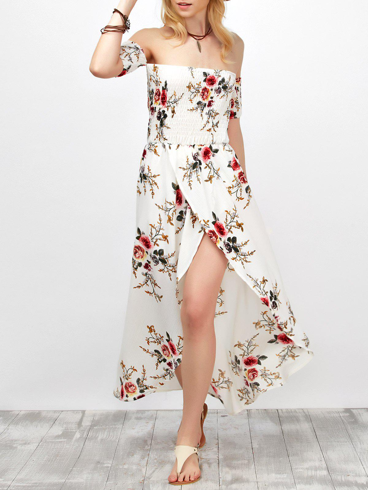 Shops Off Shoulder Floral Chiffon Split Maxi Beach Dress