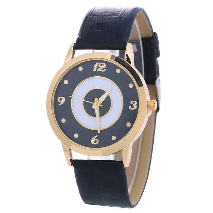 Store Faux Leather Color Block Analog Watch