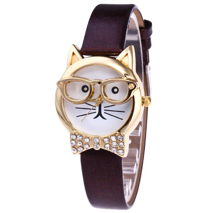 Rhinestone Cat With Glasses Analog WatchJEWELRY<br><br>Color: COFFEE; Gender: For Women; Style: Fashion; Type: Quartz watch; Index Dial: Analog; Case material: Alloy; Band material: PU Leather; Movement: Quartz; Dial Shape: Round; Water-Proof: No; Case Thickness(MM): 9mm; Dial Diameter: 2.9cm; Band Length(CM): 20cm; Band Width(CM): 1.4cm; Package Contents: 1 x Watch;