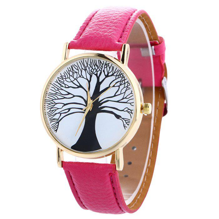 Chic Faux Leather Tree Of Life Analog Watch