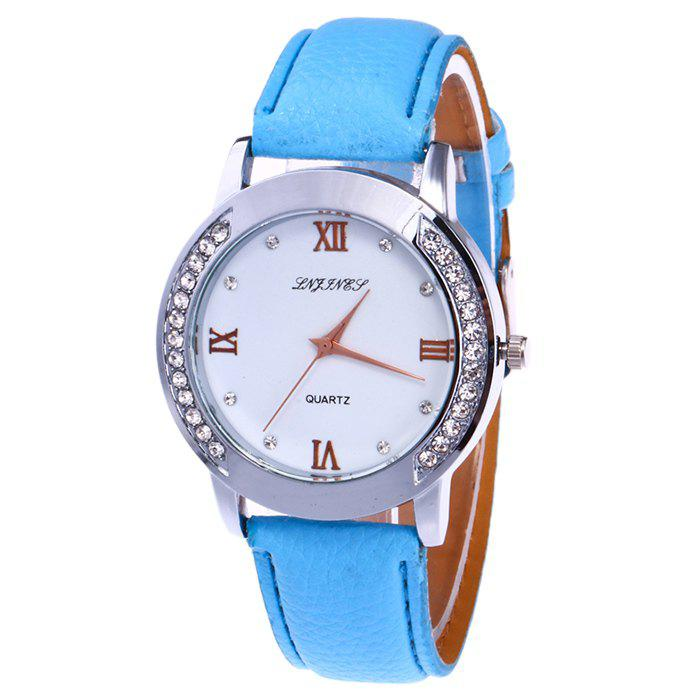 Online Rhinestone Faux Leather Strap Analog Watch