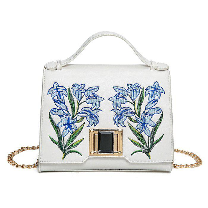 Online Embroidered Flap Handbag with Chains