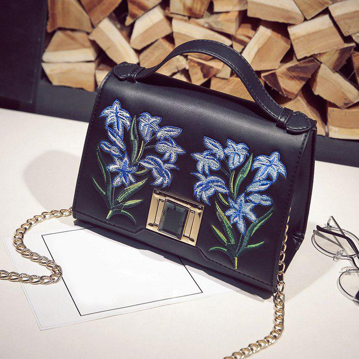 Discount Embroidered Flap Handbag with Chains