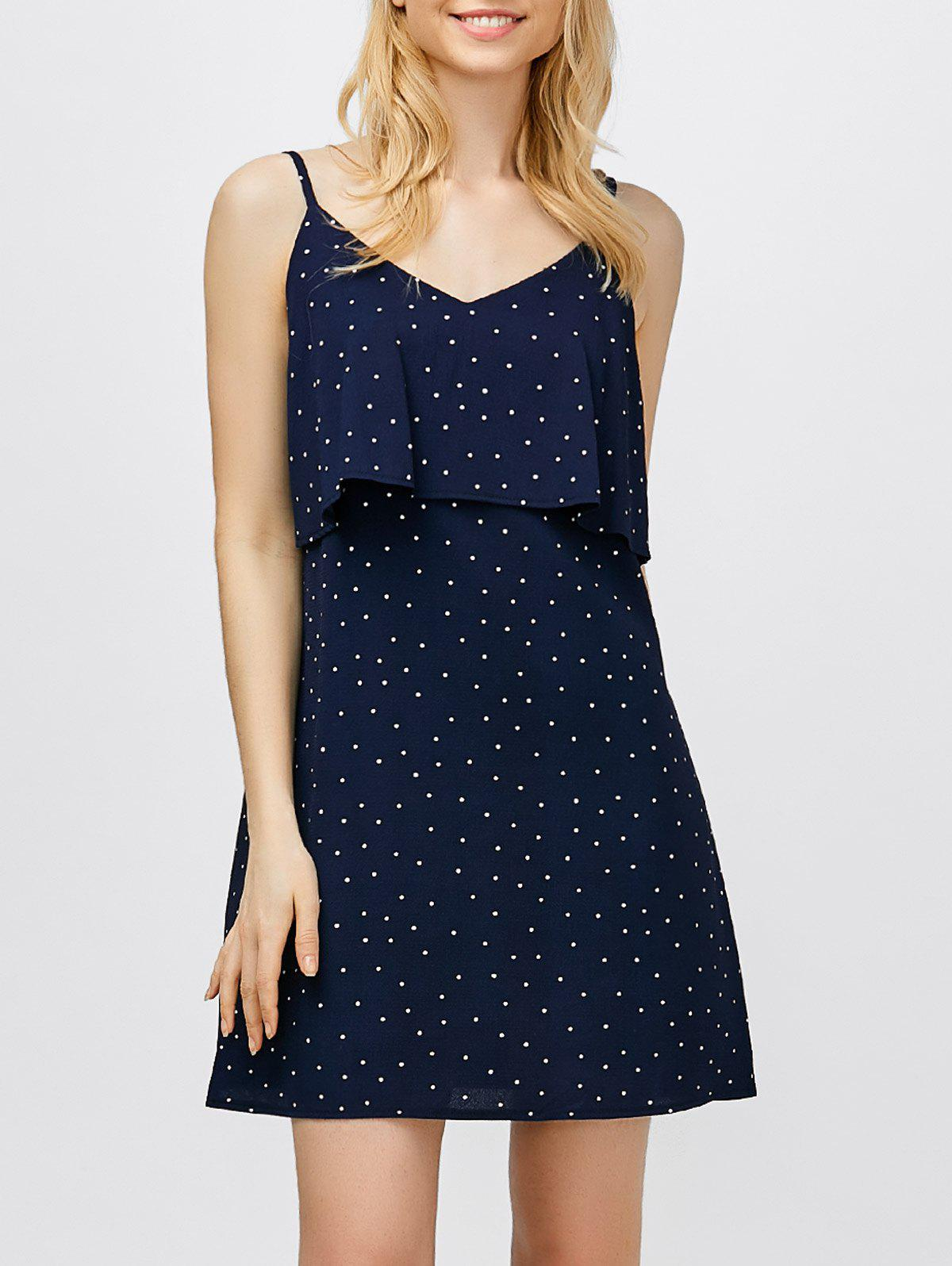 Chic Ruffle Polka Dot Mini Slip Dress
