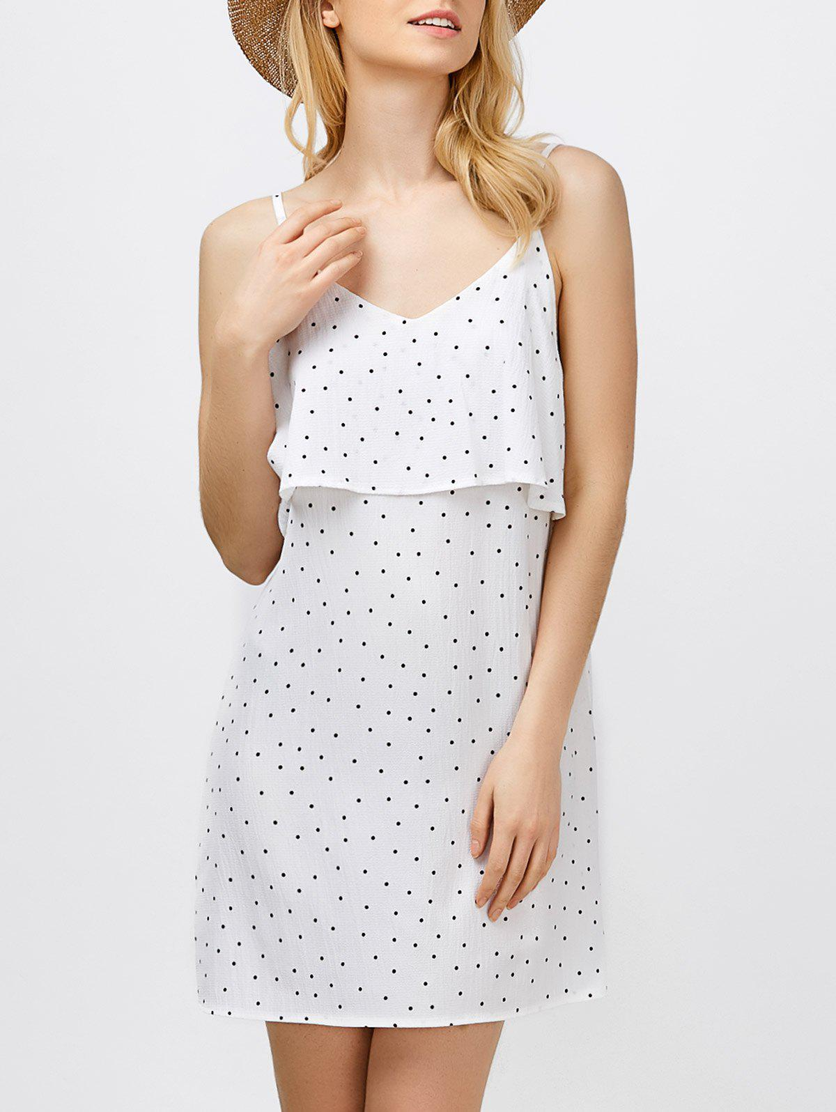 Unique Ruffle Polka Dot Mini Slip Dress