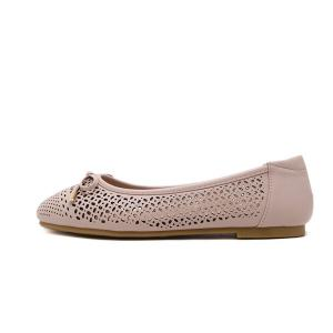 Bow Hollow Out Flat Shoes - NUDE PINK 40