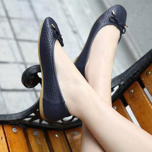 Bow Hollow Out Flat Shoes - DEEP BLUE 40