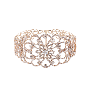 Rhinestoned Floral Wide Choker