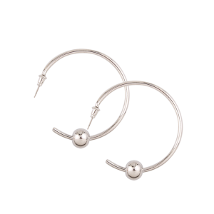 Alloy Beads Embellished Cuff Earrings - Silver