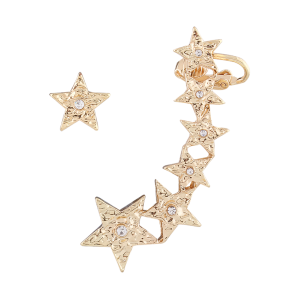 Asymmetric Rhinestone Pentagram Earring Cuff - Golden - 4xl