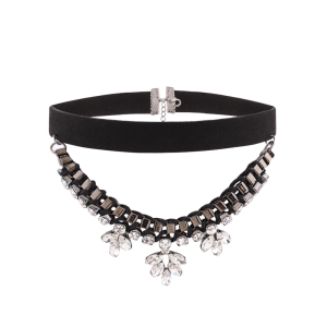 Faux Suede Flower Rhinestone Layer Choker - Black - 40