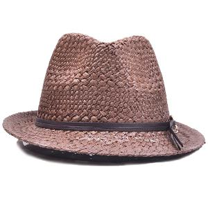 Chain PU Straps Embellished Straw Jazz Hat - COFFEE