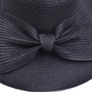 Large Bowknot Embellished Brimmed Straw Bucket Hat -