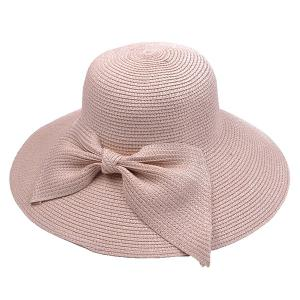 Large Bowknot Embellished Brimmed Straw Bucket Hat - Pink - One Size