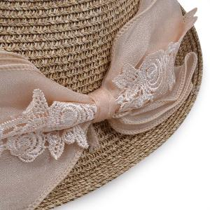 Lace Bowknot Band Straw Fedora Hat - OFF-WHITE