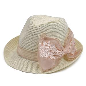 Lace Bowknot Band Straw Fedora Hat - Off-white - M