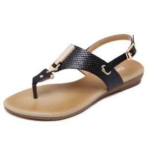 Metal Detail Flip Flop Sandals - Black - 41