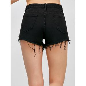 High Waisted Asymmetrical Fringed Jean Shorts - BLACK M
