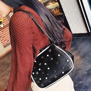 Beaded Star Rivet Kisslock Cross Body Bag - BLACK