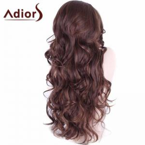 Adiors Long Wavy Middle Part Shaggy Synthetic Wig - FLAX