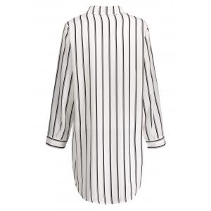 Plus Size Striped Linen Short Tunic Shirt Dress - WHITE 3XL