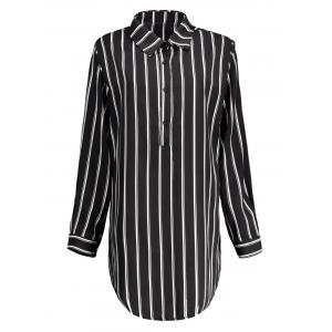Plus Size Striped Long Sleeve Tunic Shirt Dress - White And Black - Xl