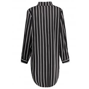Plus Size Striped Long Sleeve Tunic Shirt Dress - WHITE/BLACK XL