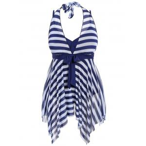 Plus Size Stripe One Piece Skirted Swimsuit