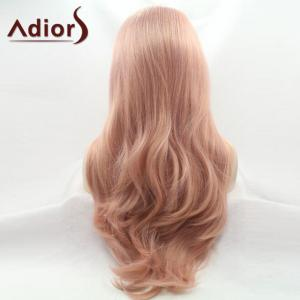 Adiors Long Wavy Middle Part Capless Synthetic Wig - PINK