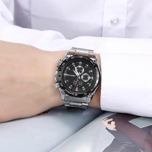 CHENXI Stainless Steel Tachymeter Analog Watch - BLACK