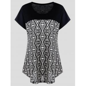Plus Size Cap Sleeve Geometric T-Shirt