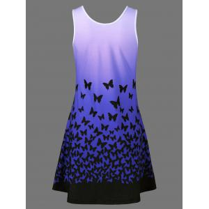 Butterfly Print Ombre Plus Size Trapeze Dress -